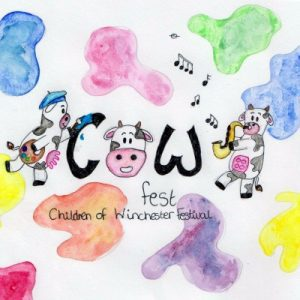 Child's drawing of cows playing musical instruments