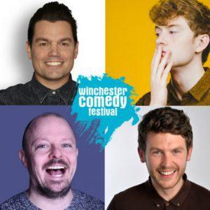 Poster depicting comedians James Acaster, Charlie Baker, George Lewis and James Gill