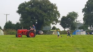 tractor on a campsite