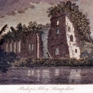 An historic image outside of the Bishop's Palace in Bishop's Waltham
