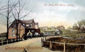 A historic picture outside the Abbey Mill in Bishop's Waltham