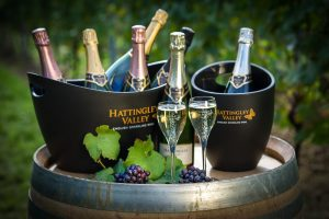 Hattingley Valley_Bottles & fizz in Vineyard_© The Electric Eye Photography