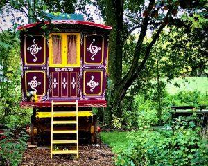 Colourful glamping caravan