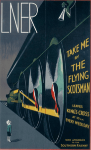 Image of person looking up at the Flying Scotsman