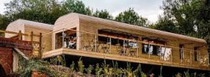 Image of community cafe built like railway carriages