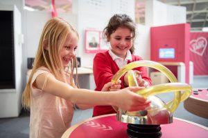 Children playing with a exhibition at the winchester science centre