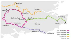 This map shows the three of the four national trails King Alfred's Way links together.