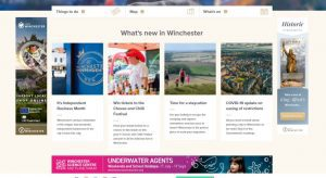 A screen shot of banners on the Visit Winchester website